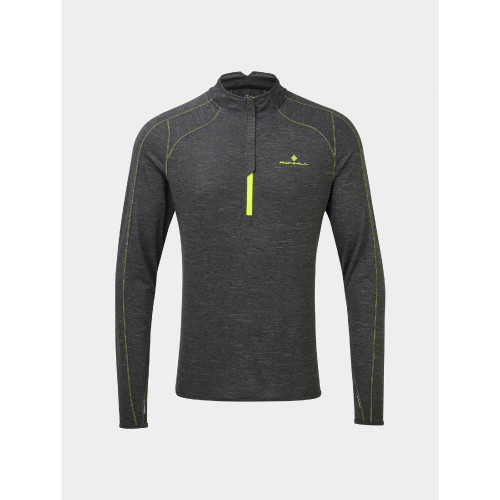 Ronhill - Mens Tech Thermal 1/2 zip Tee - Charcoal/Yellow