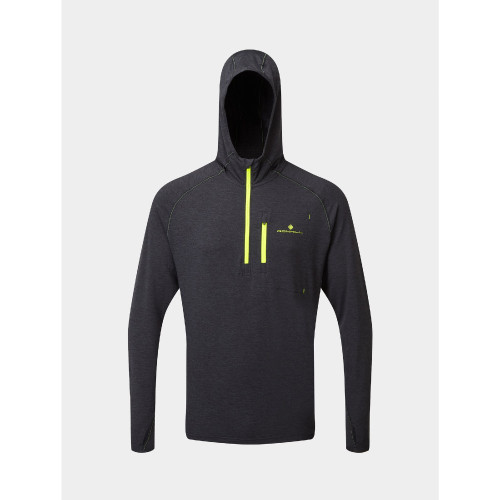 Ronhill - Mens Life Workout Hoodie - Charcoal/Yellow