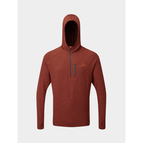 Ronhill - Mens Life Workout Hoodie - Brick/Charcoal