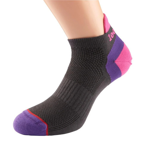 1000 Mile Socks - Womens Ultimate Tactel Trainer Liner - Charcoal/Pink/Purple