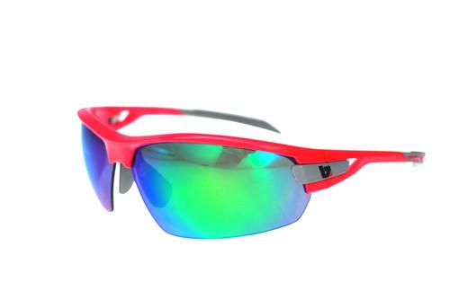 BZ Optics Sports Sunglasses - PHO Pink Frame - Green Mirror Lens