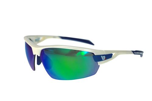 BZ Optics Sports Sunglasses - PHO White Frame - Green Mirror Lens