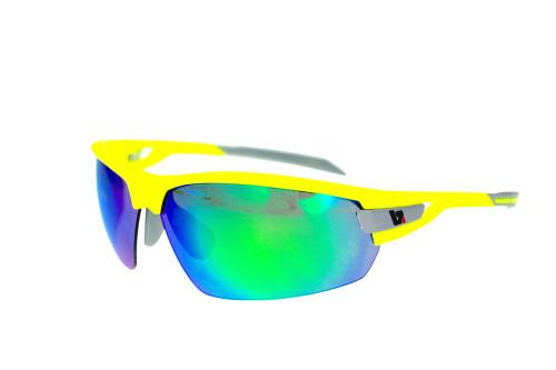 BZ Optics Sports Sunglasses - PHO Yellow Frame - Green Mirror Lens