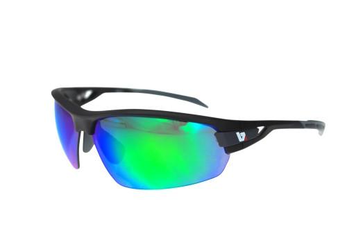 BZ Optics Sports Sunglasses - PHO Black Frame - Green Mirror Lens