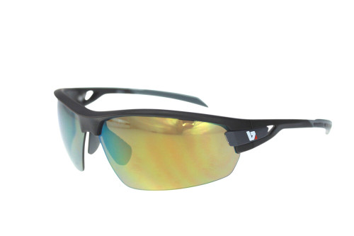 BZ Optics Sports Sunglasses - PHO Black Frame - Yellow Mirror Lens