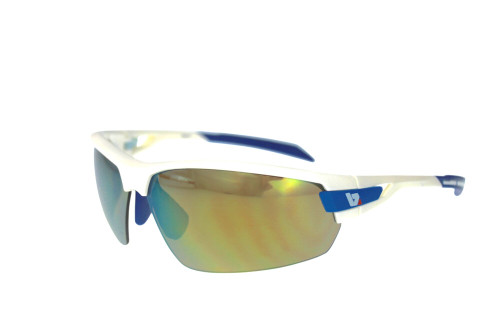 BZ Optics Sports Sunglasses - PHO White Frame - Yellow Mirror Lens
