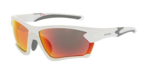 BZ Optics Sports Sunglasses - TOUR White Frame - Red Mirror Lens