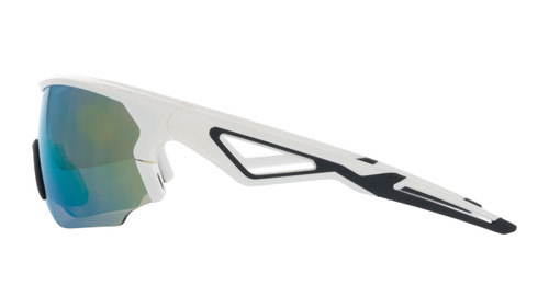 BZ Optics Sports Sunglasses - CRIT White Frame - Green Mirror HD  Lens