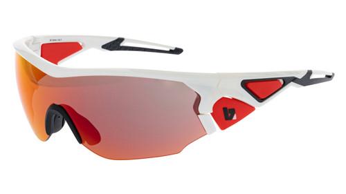 BZ Optics Sports Sunglasses - CRIT White Frame - Orange Mirror HD  Lens