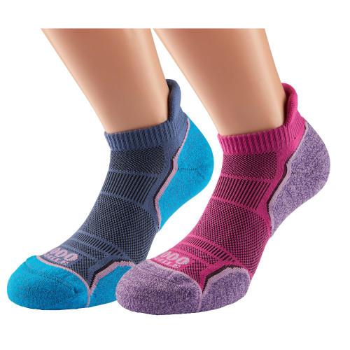 1000 Mile Socks - Womens Run Socklet Single Layer Twin Pack