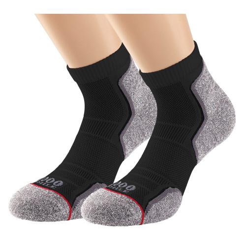 1000 Mile Socks - Womens Run Anklet Twin Pack - Black