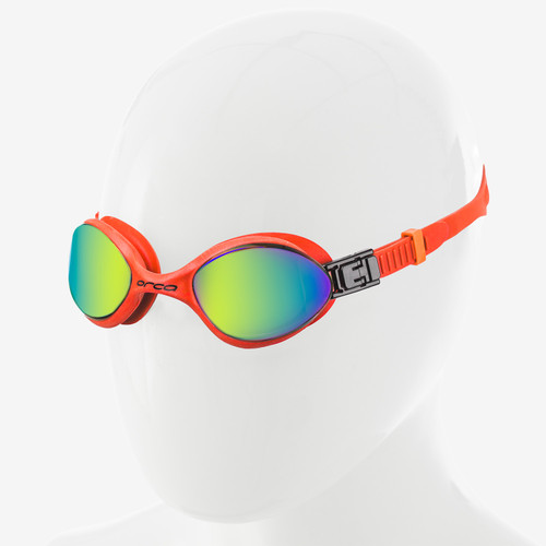 Orca Killa 180 Swimming Goggle - Orange with Mirrored Lens