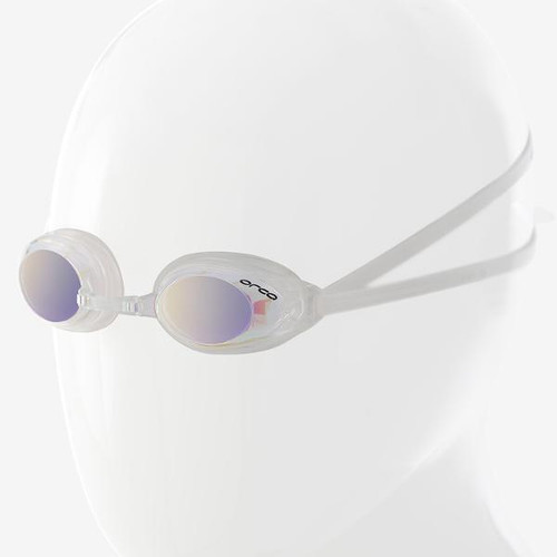 Orca Killa Speed Swimming Goggle - White with Mirrored Lens