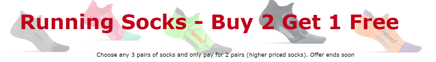 Running Socks - Buy 2 - Get 1 FREE. Choose any 3 pairs of socks and only pay for 2 pairs