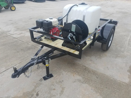 Compact Cold Water Pressure Washer Trailer with Water Tank and Hose Reel