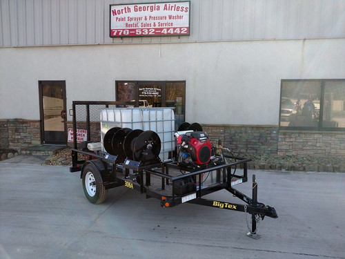 Compact Pressure Washing Trailer with 2 Units & 3 Hose Reels featuring custom mounting to optimize space