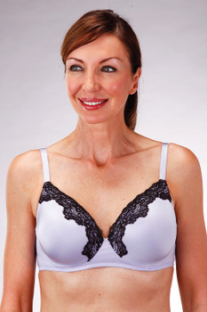 Style 718 Padded Cup Mastectomy Bra by Classique. Low chest line to show off cleavage