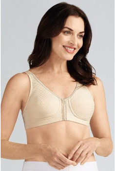 Front & Back Closure Mastectomy Bra By Amoena -Fiber Filled Cup for padded cup feel Pearl Beige