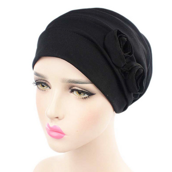 Rose Chemo Hat and Post Radiation Therapy Cap Black