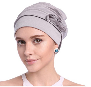 Rose Chemo Hat and Post Radiation Therapy Cap Light Grey