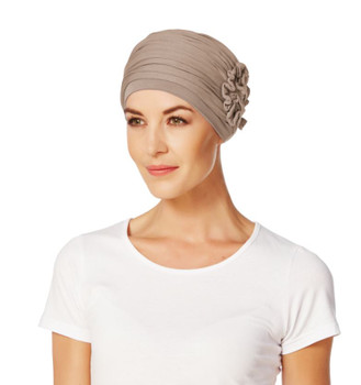 Lotus Solid Turban-Lo-0167-Light Brown by Christine Headwear Bamboo Hat   Bamboo Cap   Bamboo Beanie