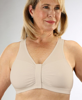 Front Velcro Closure Seamless Cotton Bra  Front opening cotton wire free bra Front closure bra with back support
