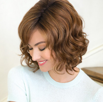 Wig |Reign Synthetic Lace Front | Double Monofilament Wig  by Amore. Color: Honey Brown-R