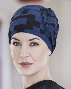 Lotus Turban Bamboo Prints Chemo Hat-Black/Blue -440 by Christine Head wear