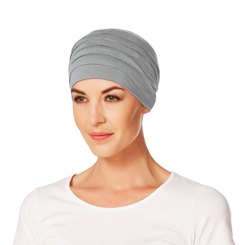 Yoga Turban Bamboo Chemo Cap-Grey Melange-169 by Christine Headwear