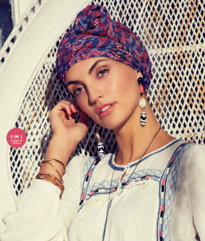 Sapphire Boho Turban - Exotic Palms by Christine Headwear