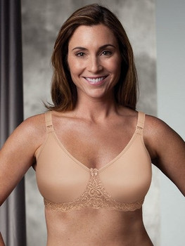 AudreySeamless Mastectomy Bra, with underwire. by Trulife,  Fabric is made with soft, stretchy lace band that is gentle on the skin. Nude/Beige color