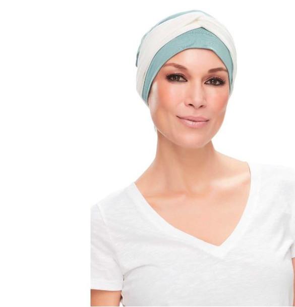 Softie Accent Chemo Cap-Head Band by Jon Rena Cream Print