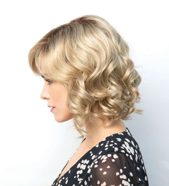 Wig |Reign Synthetic Lace Front | Double Monofilament Wig  by Amore. Color: Creamy Toffee