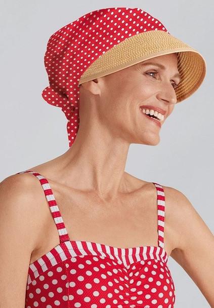 Hat Daphne With Sun Shield - Red Polka Dot- 44200