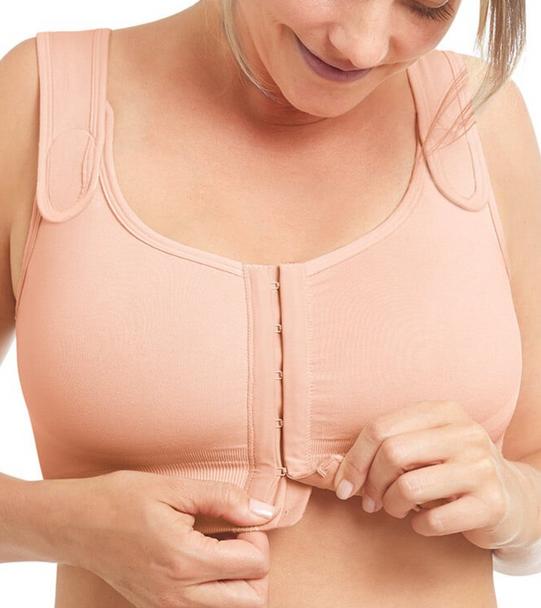 Sina Post Surgery Bra, Seamless Front Closure Bra by Amoena -Rose Nude