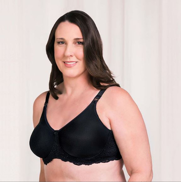 AudreySeamless Mastectomy Bra, with underwire. by Trulife,  Fabric is made with soft, stretchy lace band that is gentle on the skin. Black color
