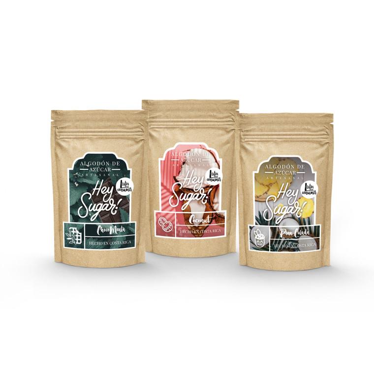Algodón de azúcar de Chocomenta, Coco y Piña Colada (3 Pack)