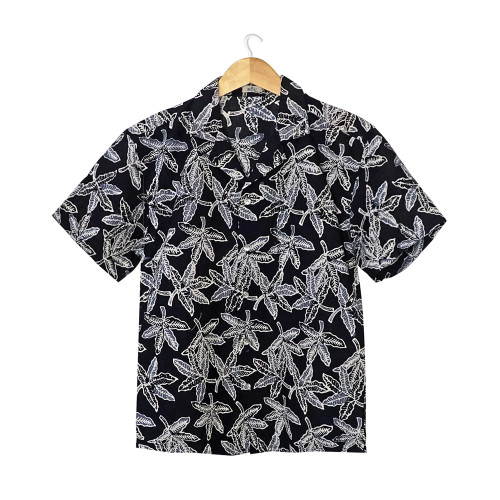 Aloha Style Shirt Women - Cassava Leaf on Black