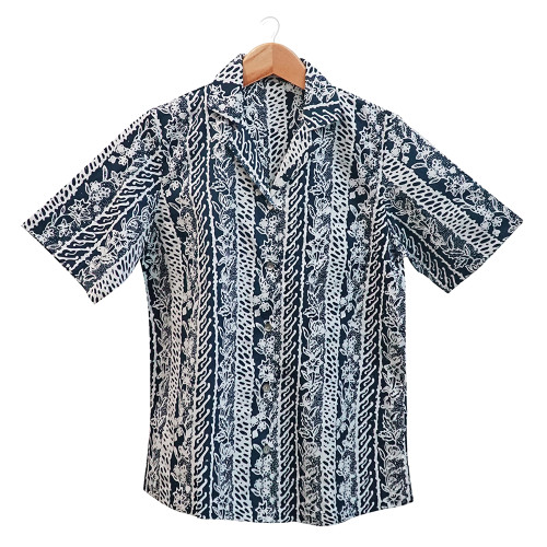 Aloha Style Shirt Women - Floral Stripes on Navy