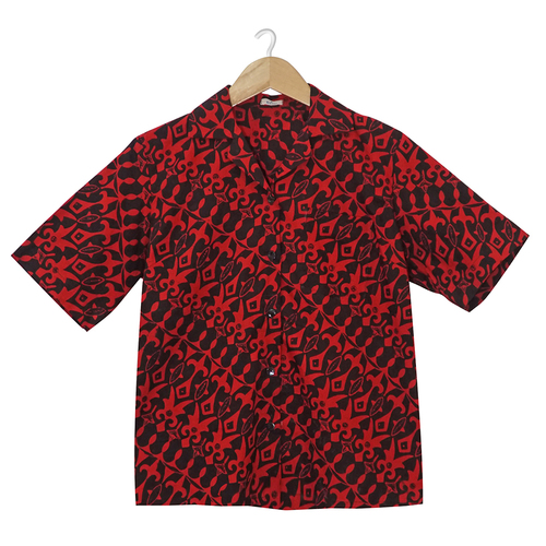 Aloha Style Shirt Women - Dark Borneo on Red