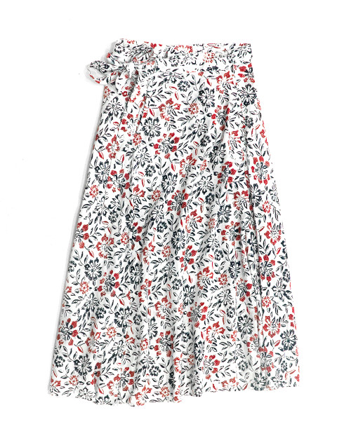 Wrap Skirt - Ruby Flower on White