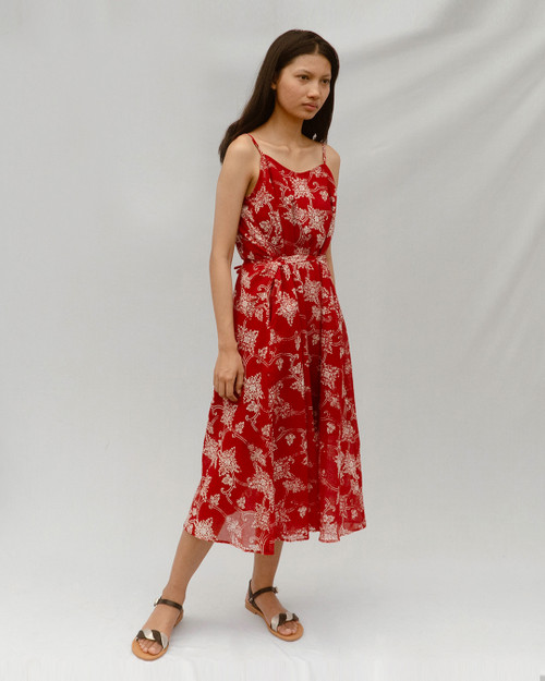 Camisole Dress - Borneo Flowers on Ruby Red