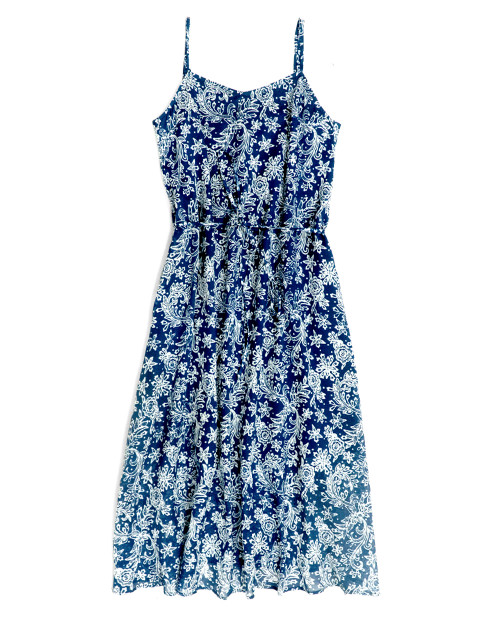 Camisole Dress - White Rose Star on Blue