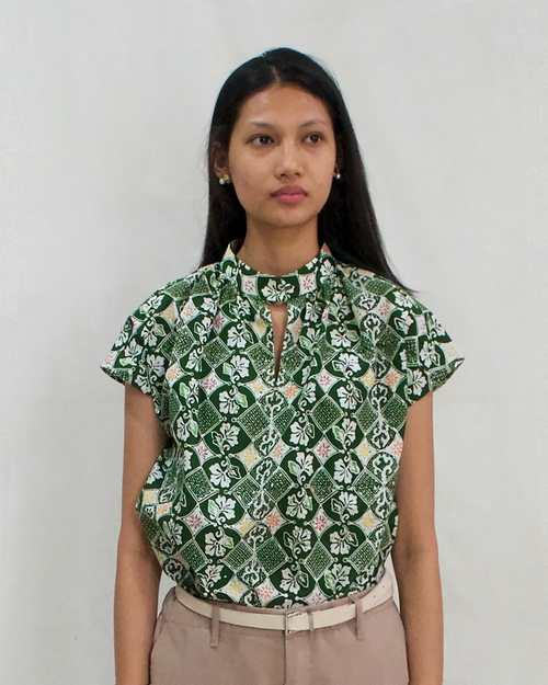 High Neck Blouse - Green Stroke of Luck