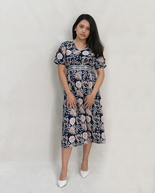 Waist Tucked Dress - Pink Morning Glory on Navy