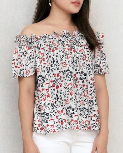 Sabrina Top - Ruby Flower on White