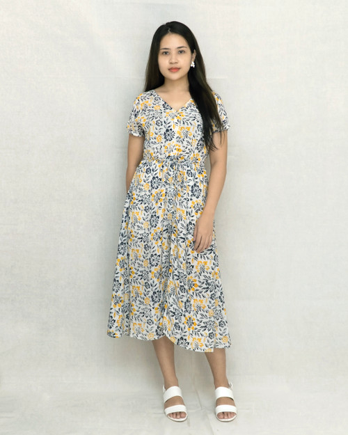 Buttoned Dress - Yellow Daisies on White