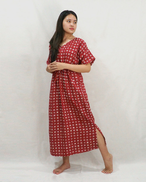 Home Dress - Morning Star on Crimson Red