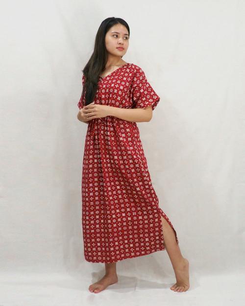 Home Dress - Morning Star on Crimson Red