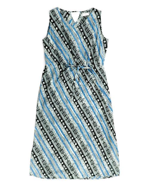 No Sleeve Dress - Blue and Black Vertical Garden